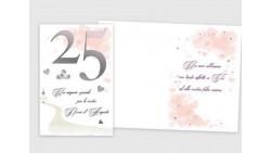 Biglietto di auguri Augurale di 25° ANNIVERSARIO - Completo di busta - 11,5x16,5cm