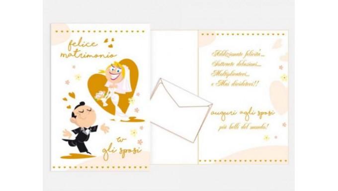 Biglietto Di Auguri Augurale Di Matrimonio Completo Di Busta