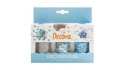 Set 3 Decorazioni in ZUCCHERO 78g - fiocco di neve, sfere argento, sfere celesti ideale per decori torte e dolci