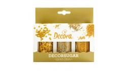 Set 3 Decorazioni ORO in ZUCCHERO 75g - stelle oro, sfere oro e argento ideale per decori torte e dolci
