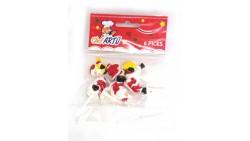 6 Picks in plastica BABBO NATALE - ideali per decorazioni dolci e salati
