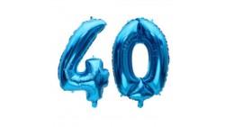 Pallone numero 40 Quaranta BLU in MYLAR foil - PALLONCINO numerale 41cm