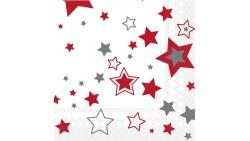 20 TOVAGLIOLI 33x33cm in carta NATALE Bianco con STELLE ROSSO e ARGENTO - addobbo decoro tavola natalizia