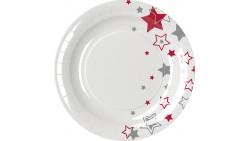 8 PIATTI Ø18cm in carta NATALE Bianco con STELLE ROSSO e ARGENTO - addobbo decoro tavola natalizia