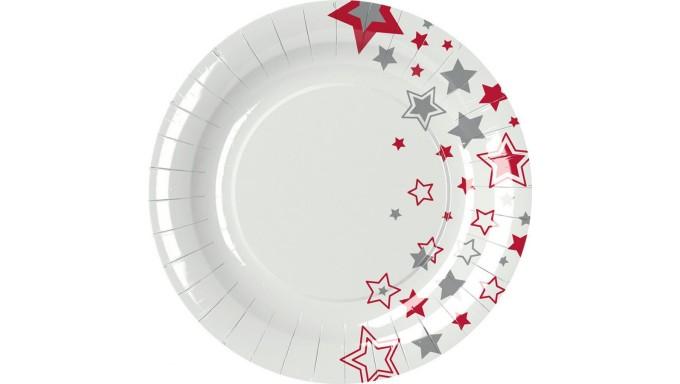 8 PIATTI Ø23cm in carta NATALE Bianco con STELLE ROSSO e ARGENTO - addobbo decoro tavola natalizia