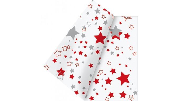TOVAGLIA in TNT rettangolare 120x180cm - NATALE Bianco con STELLE ROSSO e ARGENTO