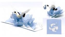 Biglietto augurale ORIGAMO con CICOGNA BIMBO - compleanno generico - POP UP - realizzato a mano