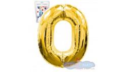 Pallone numero 0 ZERO ORO - PALLONCINO numerale in MYLAR foil - 1 mt