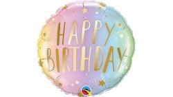 Palloncino foil mylar Happy Birthday pastello stars - 46 cm
