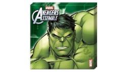 20 Tovaglioli AVENGERS decoro Tavolo - in carta 33 x 33cm - con Hulk,  Iron Man, Thor e Capitan America