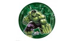 8 Piatti AVENGERS decoro Tavolo - in carta monouso Ø19,5cm - con Hulk, Thor, IronMan, Capitan America
