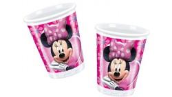 10 Bicchieri MINNIE Mouse decoro Tavolo - in plastica 200ml con Topolina Fuxia