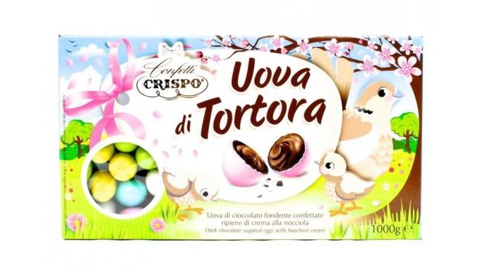 Uova di cioccolato fondente confettate ripiene di crema alla nocciola 1 kg