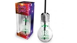 Bicchiere dei 18 ANNI - a forma di LAMPADINA - idea scherzo gadget MAGGIORENNE