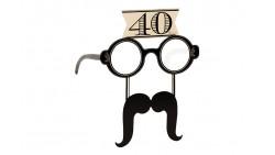 4 Occhiali in Carta 40 ANNI con baffi - idea scherzo gadget per feste compleanno