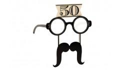 4 Occhiali in Carta 50 ANNI con baffi - idea scherzo gadget per feste compleanno