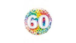 Palloncino foil mylar 60 ANNI fantasia coriandoli - 46 cm