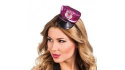 Mini Cappello Poliziotta LOVE - Fucsia - Cerchietto Frontino sexy