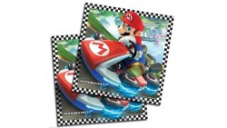 16 Tovaglioli Super Mario Kart decoro Tavolo - in carta monouso 33x33 cm