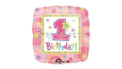 PALLONE MYLAR 18  1° COMPLEANNO GIRL