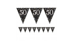 Festone Ghirlanda Bandierine 50 anni Happy Birthday 4 mt