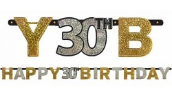 Festone Ghirlanda 30 anni  sagoma lettere prismatico Happy Birthday 2,13 mt