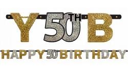 Festone Ghirlanda 50 anni  sagoma lettere prismatico Happy Birthday 2,13 mt