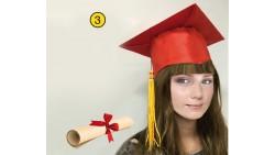 Cappello Laurea TOCCO con Pergamena Gadget per la Festa Laureato LAUREATA -ROSSO