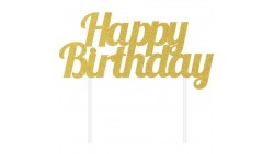 Cake Topper Happy Birthday oro glitter - ideale per torte 17,7 x 15,2 cm