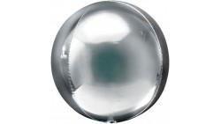 BUBBLES palloncino ORBZ ARGENTO 16/40cm - pallone sfera - fornito sgonfio