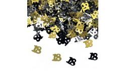 Confetti 18 Anni - ORO e NERO - Coriandoli da tavola a forma di numero 18 - 15gr