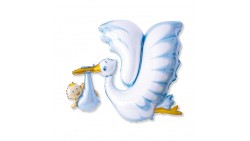 Palloncino foil Mylar Cicogna CELESTE - nascita bimbo - gonfiabile aria o elio