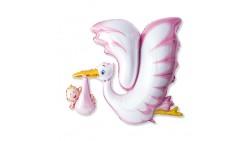 Palloncino foil Mylar Cicogna ROSA - nascita bimba - gonfiabile ad aria o elio