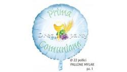 PALLONE MYLAR PRIMA COMUNIONE CELESTE 22 POLLICI