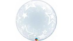 Palloncino BUBBLES  con STELLE stelline - Pallone tondo Trasparente 61cm