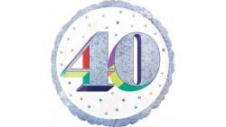 Palloncino foil mylar 40 ANNI Argento POP ART - gonfiabile ad aria o ad elio - 45 cm