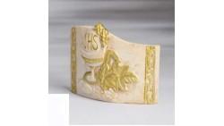 Medaglione TOPPER per torta COMUNIONE dorati - calice, pane, corpo di cristo, spiga