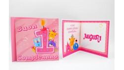 Biglietto d'auguri per 1° Compleanno bimba Musicale e luminoso - SONORO bambina