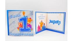 Biglietto d'auguri per 1° Compleanno bimbo Musicale e luminoso - SONORO bambino