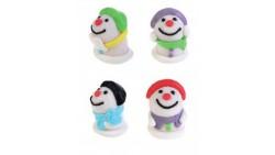 1 Soggetto Pupazzo di Neve in ZUCCHERO - colore casuale - decorazione natale per torte e dolci