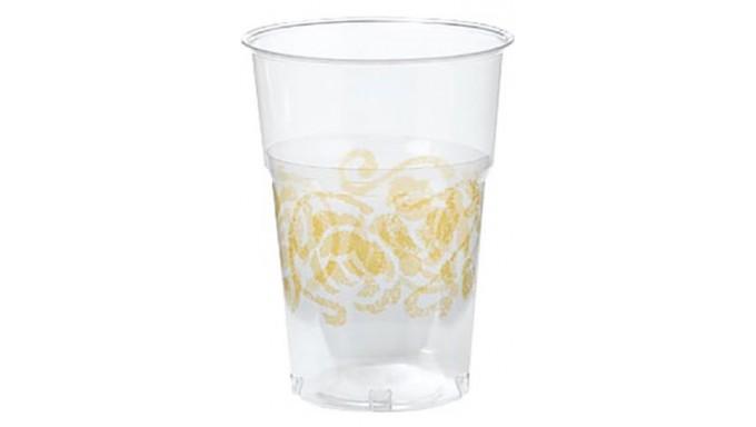 10 Bicchieri in Plastica trasparenti - Rose ORO - addobbo decoro tavola