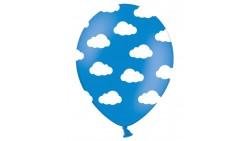 """10 PALLONCINI in lattice CELESTE Tema """"Nuvole"""" - con nuvolette Bianche"""