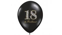 10 PALLONCINI in lattice nero stampa 18 & Brilliant - 18 anni - Ø12 in/ 30cm