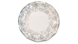 10 PIATTI Ø27cm in carta - NOBLESSE ARGENTO - addobbo decoro tavola
