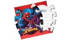 6 Inviti SPIDERMAN con busta - per festa party di compleanno - festa per bambini