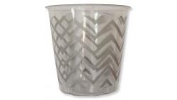 8 Bicchieri Kristall ARGENTO in plastica - CHEVRON SILVER - addobbo decoro tavola