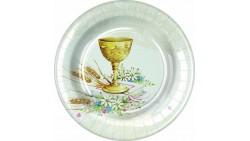 8 Piatti dessert in carta PRIMA COMUNIONE - con calice, grano e bibbia - Ø18cm