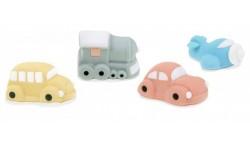 Aereo, Treno Autobus, Auto in zucchero 3D - decorazioni torte e dolci - 4 soggetti ass.