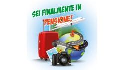 Biglietto SONORO augurale di auguri Finalmente in PENSIONE - completo di busta