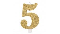CANDELA numero 5 ORO GLITTER per torta - candelina in cera numerale per dolci